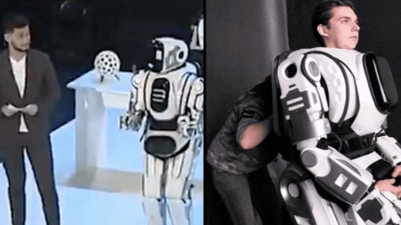 روبوت يتّضح أنه كان رجلًا في بذلة
