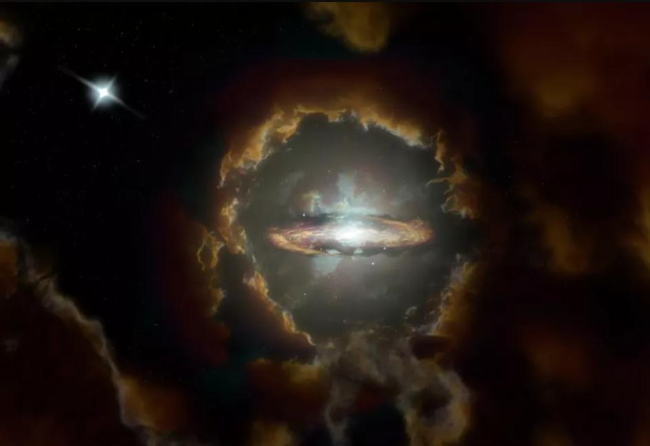 تصور فني لقرص وولف، الذي يُعد مجرةً قرصيةً ضخمةً في الكون المبكر