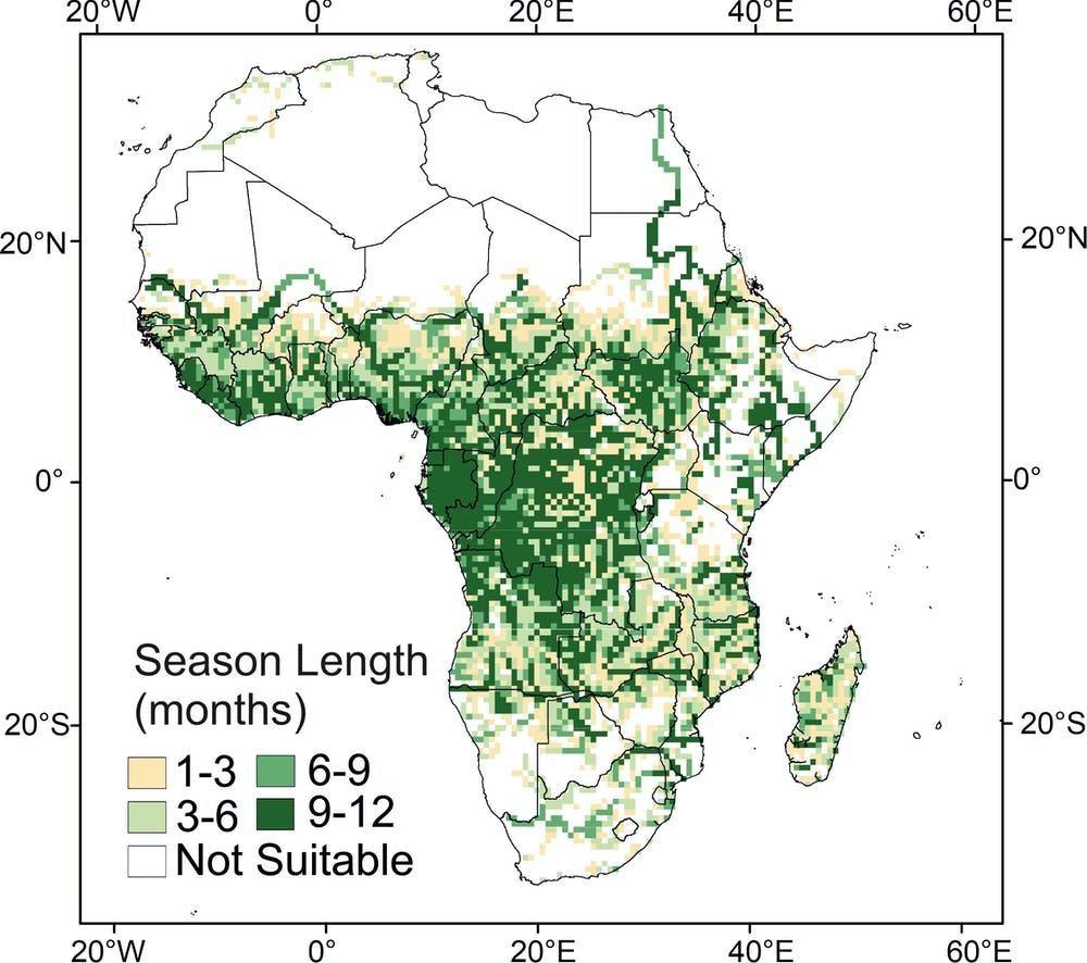 خريطة توضح المناطق المعرضة لخطر الملاريا في أفريقيا اليوم، مع العلم بأن النسب لا تتطابق مع الإصابات الفعلية؛ لأن بعض المناطق نجحت في القضاء على المرض.