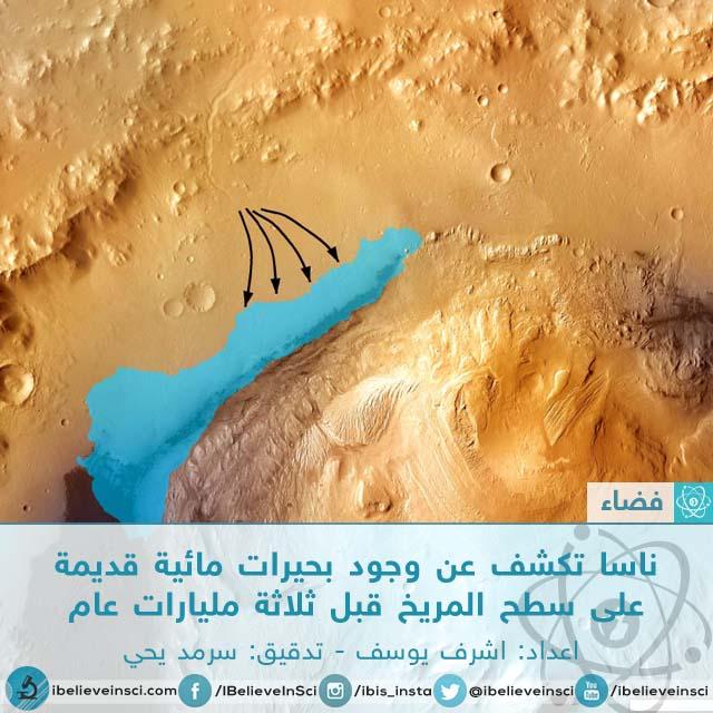ناسا تكشف عن وجود بحيرات مائية قديمة على سطح المريخ قبل ثلاثة مليارات عام
