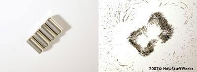تصطف برادة الحديد على طول المجالات المغناطيسية لأربعة مغانط صغيرة، وبعد إزالة المغناطيس، سيبقى لدى البرادة مجالات مغناطيسية ضعيفة