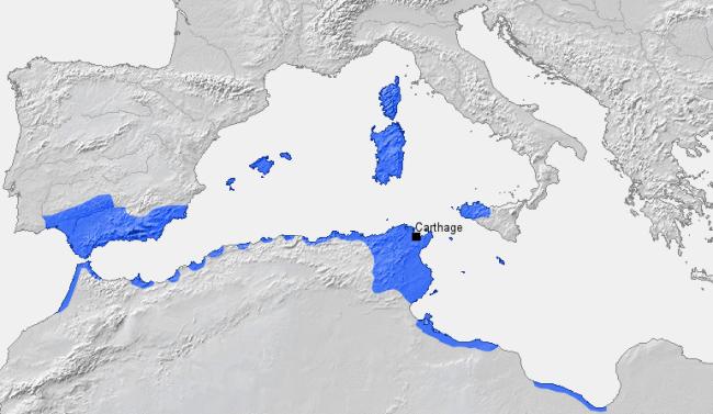 مدينة قرطاجة ودائرة نفوذها قبل الحرب البونية الأولى (264 ق.م)