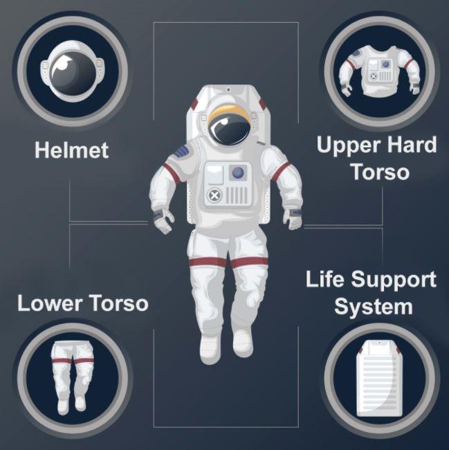 الجذع العلوي والسفلي، وملابس التبريد، والخوذة هي المكونات الأساسية لوحدة التنقل الخاصة بالنشاطات خارج المركبة