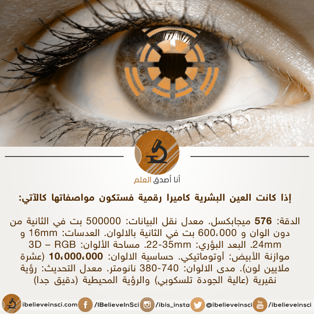 إذا كانت العين البشرية كاميرا رقمية فستكون مواصفاتها كالآتي
