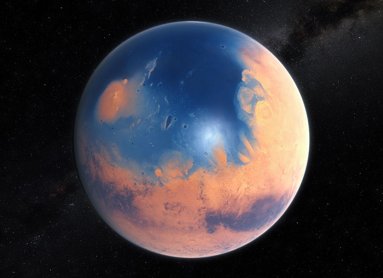 دراسة تشير إلى أن المريخ قد يخفي محيطات تحت قشرته
