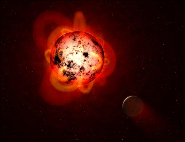 رسم توضيحي لاندفاعات الطاقة النجمية الصادرة عن نجم قزم أحمر يدور حوله كوكب