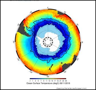 تظهر الصورة المُرفقة التيارات القطبية للقطب الجنوبي (الخطوط السوداء) بالإضافة إلى بحر القطب الجنوبي الجليدي (اللون الأزرق)