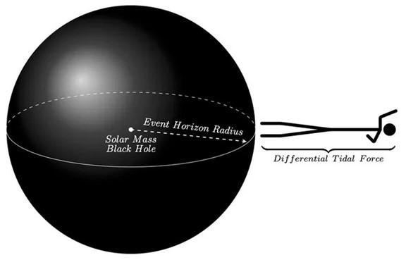 شخص يقترب من أفق حدث لثقب أسود بحجم الشمس