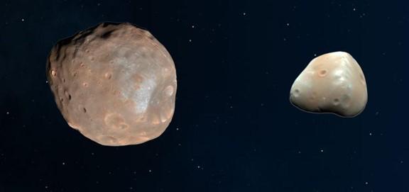 فوبوس (يسارًا) وديموس (يمينًا) جنبًا إلى جنب للمقارنة. مصدر الصورة: NASA