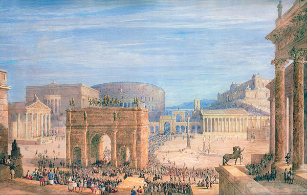 The victories that extended Rome's reach and prompted such grand processionals as the one depicted here in the Roman Forum also brought increased tensions among conquered populations along its borders. (Illustration by Francis Vyvyan Jago Arundell/Private Collection/© Christopher Wood Gallery, London/The Bridgeman Art Library)