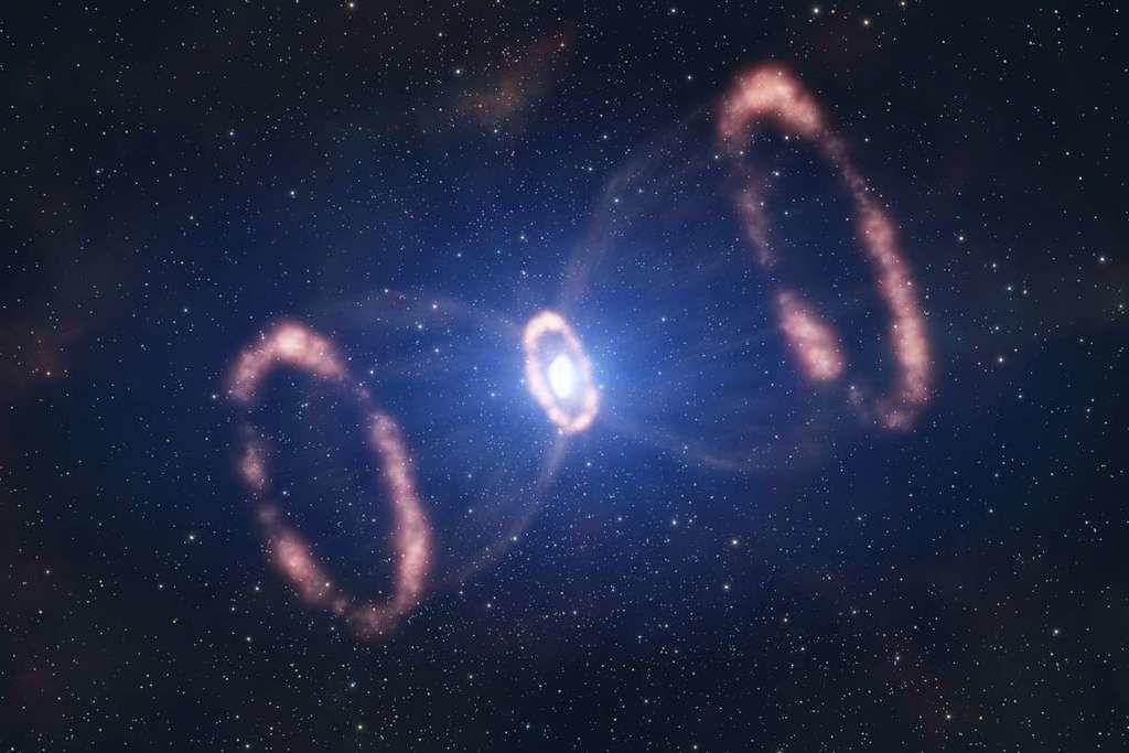 كم تبلغ درجة حرارة الذرات المنطلقة من انفجار المستعر الأعظم ؟