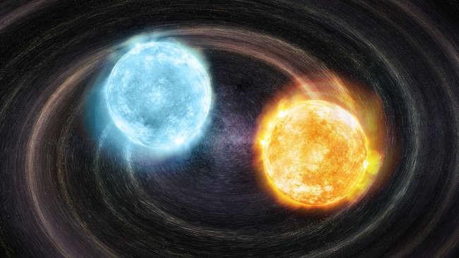 تصور فني لأول مصدر مؤكد لموجات الجاذبية، يظهر قزمان أبيضان مع قلب من الهيليوم، ويُعَد هذا النظام الثنائي حديث الاكتشاف، وسيتحقق منه هوائي الفضاء ذو مقياس التداخل بالليزر في مهمته القادمة