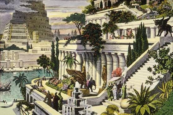 وفقا للأسطورة، كان لدى الملك البابلي نبوخذ نصر في القرن السادس متاهة هائلة من الشلالات والنباتات الكثيفة المزروعة عبر قصره الذي أنشأه من أجل زوجته التي تركت وطنها الخصيب. ما زال علماء الآثار يناقشون وجود الحديقة