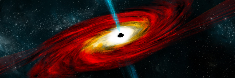 تصور فني لانفجار أشعة جاما من ثقب أسود