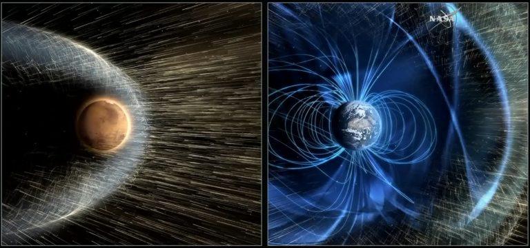 تصور فني للتفاعل بين الرياح الشمسية وكوكبي المريخ والأرض (يمين)