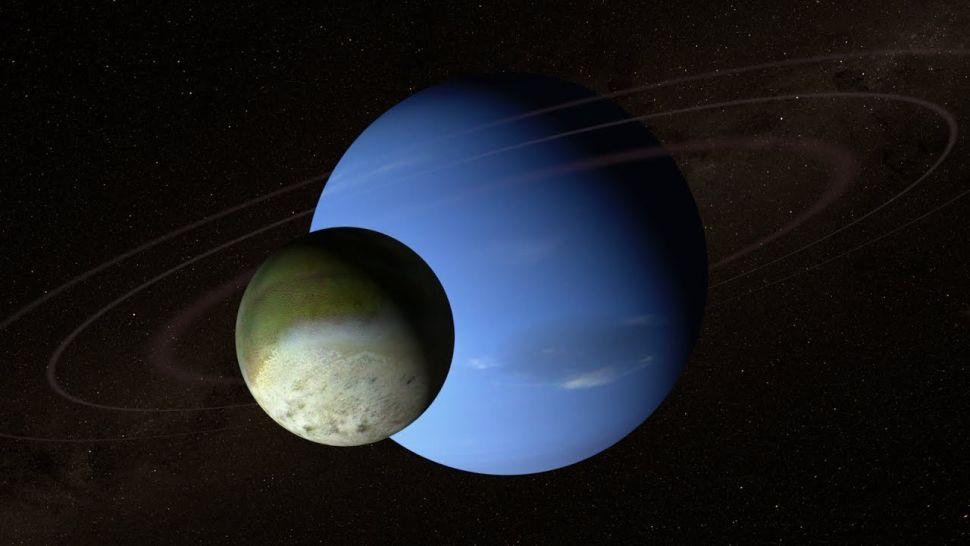 رسم لكوكب نبتون وقمره الأكبر، تريتون