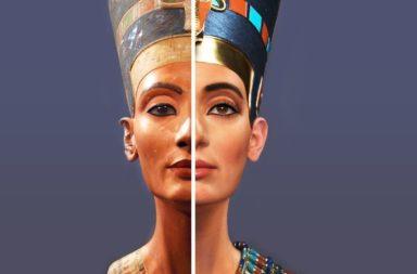 الملكة نفرتيتي: معلومات وحقائق - أقوى نساء مصر القديمة - تمثال نفرتيتي النصفي الملون المصنوع من الحجر الرملي - أميرة من مملكة ميتاني