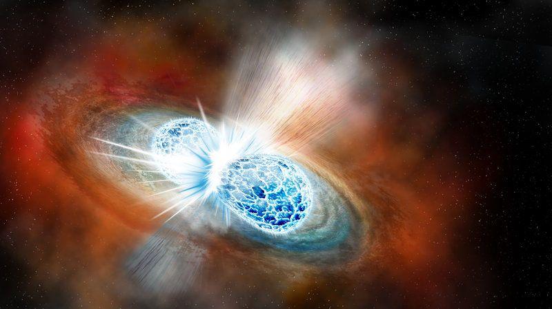 بقايا اصطدام نجم نيوتروني يحل لغز معدل تمدد الكون