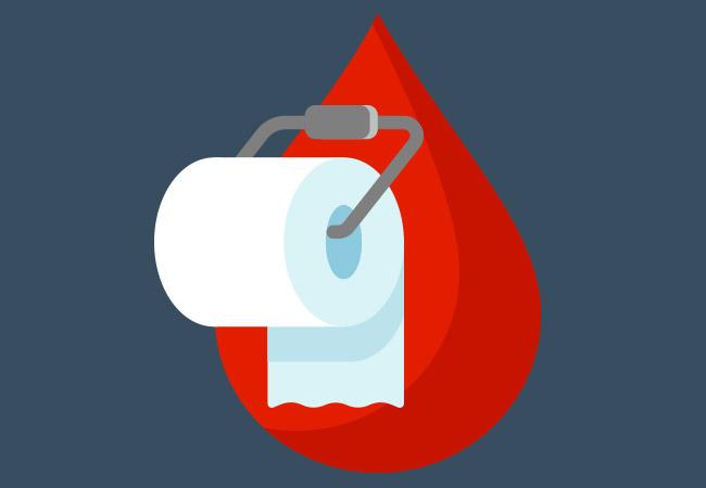 نزف المستقيم: الأسباب والعلاج - البراز المختلط بالدم الأحمر في المرحاض من أوضح علامات النزف المستقيمي - النزف من البوليبات