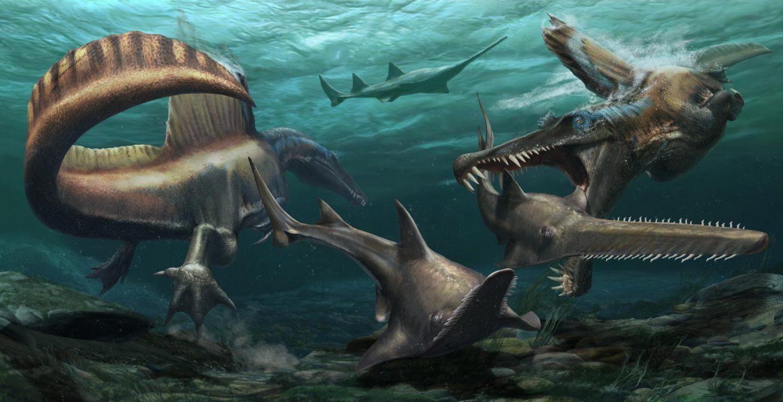 اكتشاف حفرية لأول ديناصور قادر على السباحة في المغرب