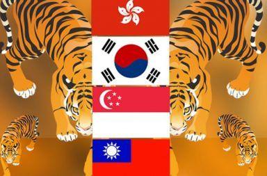 النمور الآسيوية الأربعة الاقتصادات عالية النمو في كل من هونغ كونغ وسنغافورة وكوريا الجنوبية وتايوان مستويات عالية من النمو الاقتصادي